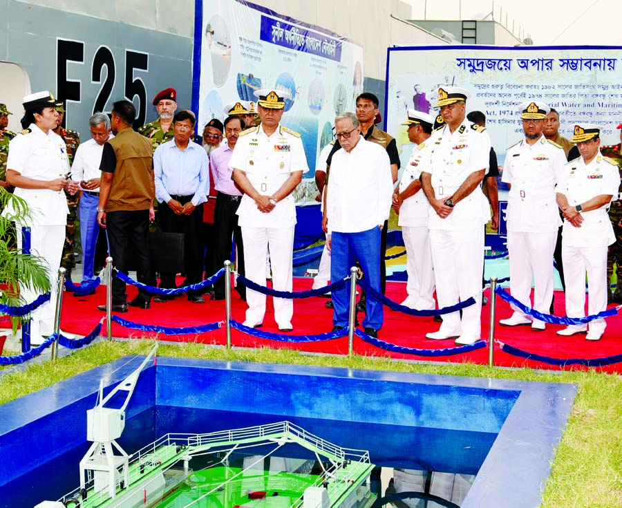 President Abdul Hamid visited different stalls of 'Armour Exhibition-2019' of Bangladesh Navy at the Old Airport in the city on Monday.