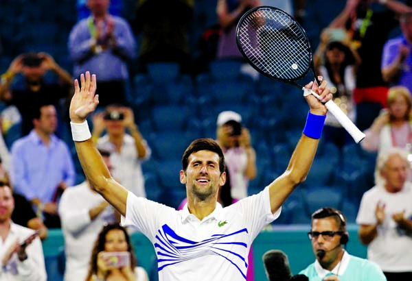 Djokovic downs Delbonis, Halep battles into Miami 4th round