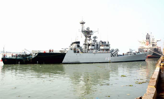 INS Kora, a Navy war ship  arrived at Chattogram Bandar yesterday.