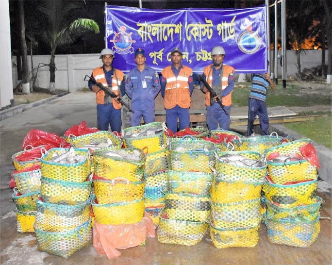 Members of Coast Guard recovered 11, 500 kgs of jatka from Toll Plaza of Karnophuli River on Wednesday.