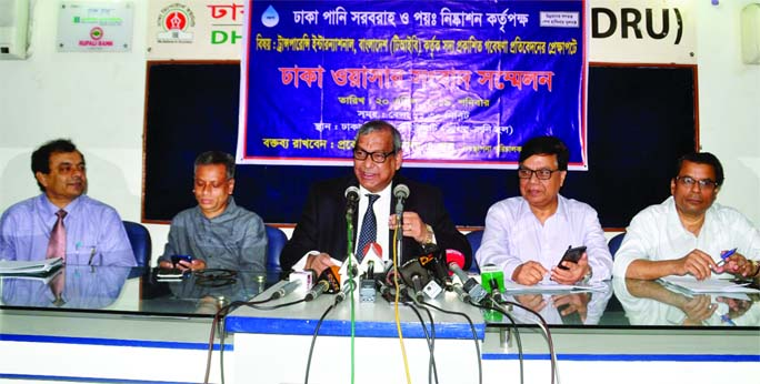 Dhaka WASA MD Engineer Taksim speaking at a press conference on Saturday held at Dhaka Reporters Unity (DRU) on Research Statement published earlier by TIB.