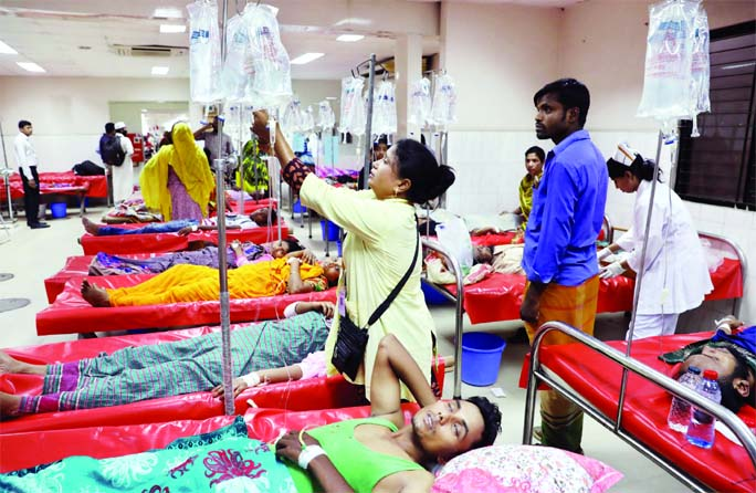 Patients on rise at icddr'b hospital due to scorching heat on Saturday.