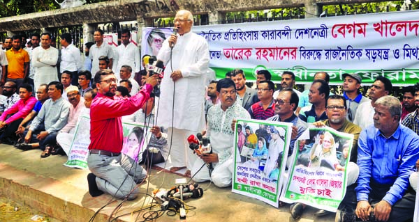 BNP Standing Committee Member Dr. Khondkar Mosharraf Hossain speaking at a sit-in organised by Swadhinata Forum in front of the Jatiya Press Club on Monday to meet its various demands including unconditional release of BNP Chief Begum Khaleda Zia.