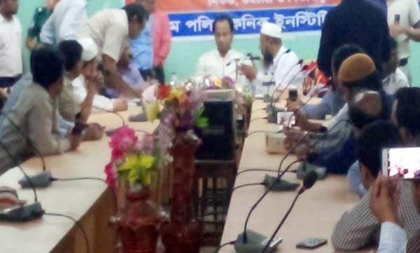 Deputy Minister for Education Mohibul Hasan Chowdhury Nowfel MP speaking at a meeting with teachers of Government Polytechnic Institutions as Chief Guest recently.