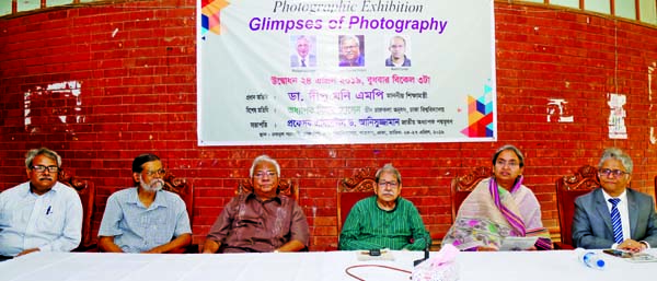 Education Minister Dr. Dipu Moni, among others, at the inauguration of a photography exhibition titled 'Glimpses of Photography' at the Faculty of Fine Arts of Dhaka University on Wednesday.