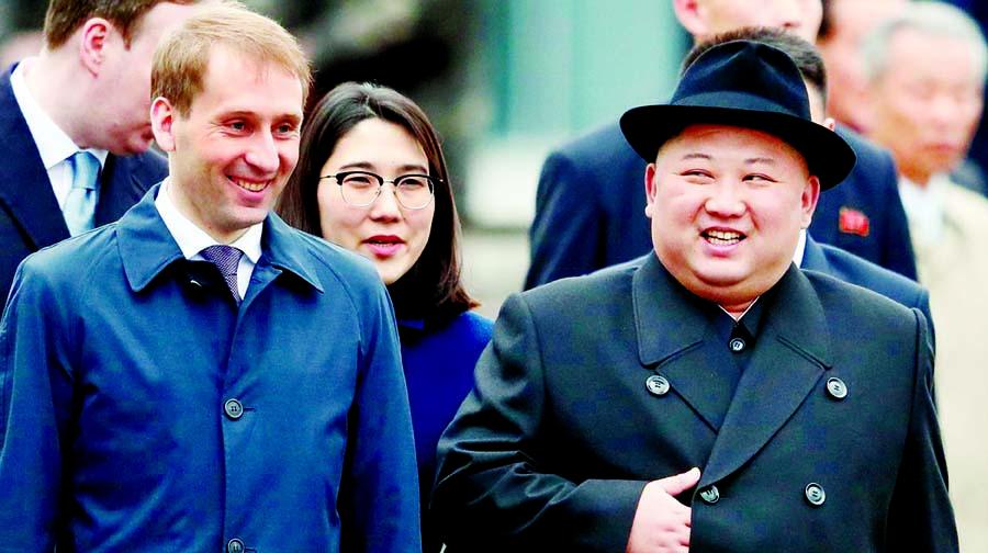Kim sits with Putin today