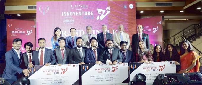 Planning Minister MA Mannan, MP distributing prizes as the Chief Guest at 'Innoventure 2019' held at North South University in the city recently.