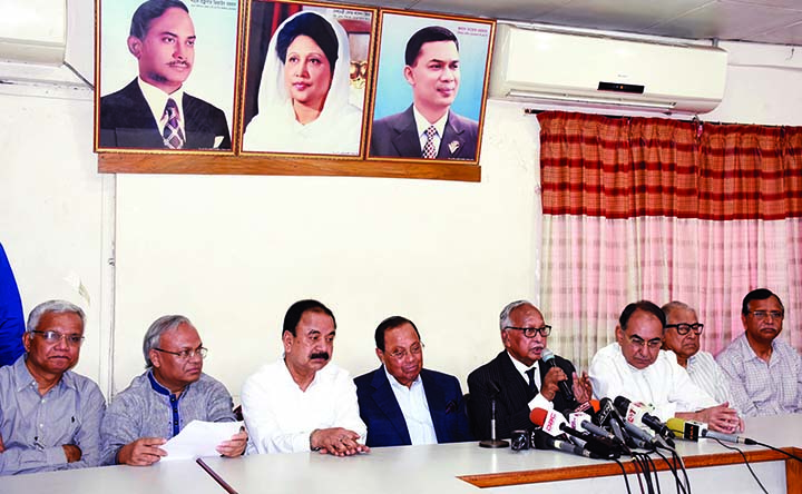 BNP Standing Committee Member Barrister Jamir Uddin Sircar speaking at a press conference at the party central office in the city's Nayapalton on Saturday demanding release and proper treatment of BNP Chief Begum Khaleda Zia.