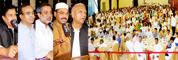 CCC Mayor A J M Nasir Uddin, Awami League leaders Mahtab Uddin Chowdhury, A B M Fazley Karim MP, M A Salam and Mofizul Rahman  speaking at an Iftar and Doa Mahfil organised by Awami League, Chattapgram City Unit on Saturday.