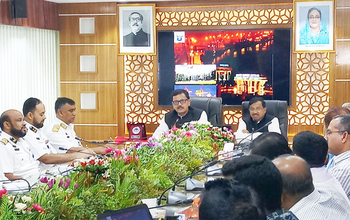 State Minister of Shipping  Khalid Mahmud Chowdhury MP speaking at a view exchange meeting with  high officials of Chattogram Port yesterday.