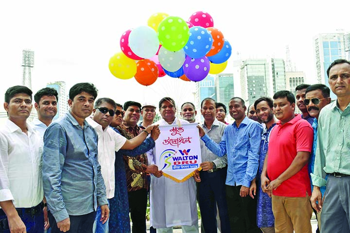 State Minister for Youth & Sports Ministry Md Jahid Ahsan Rasel MP Inaugurating Walton -DRU Krira Utsab 2019 at Bangabandhu National Stadium on Sunday. Among others, Harunur Rashid, Chairman, Dhaka Metropolitan Football League Committee, F M Iqbal Bin Anwar Dawn, Executive Director, Walton, Elias Hossain, President of  DRU, Kabir Ahmed Khan, General Secretary of DRU and Shafiqul Islam Shameem, Sports Secretary of DRU were present on the occasion.