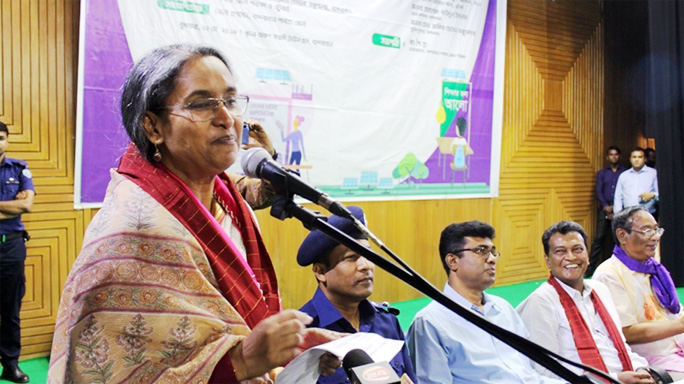 Education Minister Dr Dipu Moni MP speaking at a discussion meeting speaking at   materials distribution programme of multimedia classroom  at Bandarban on Wednesday.