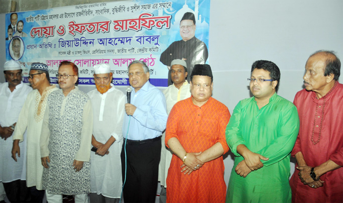 Ziauddin Ahmed Bablu, Presidium Member of Jatiya Party speaking at an Iftar Mahfil organised by Jatiya Party, Chattogram District Unit on Friday.
