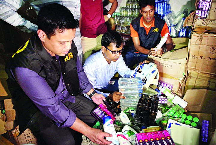 RAB mobile team led by a magistrate on Saturday raided a departmental store at Chawkbazar area detected fake and unauthorised cosmetics in name of foreign brands and seized those worth Taka 10 crore. Six detained persons were sent to jail for two years and realised Taka 85 lakh as fine.