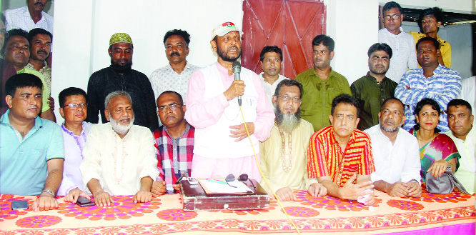 BOGURA: BNP Chairperson's Adviser Md Helaluzzaman Talukder Lalu speaking at an election campaign on behalf of BNP candidate Golam Mohammad Siraj  at Sabgram Union yesterday .