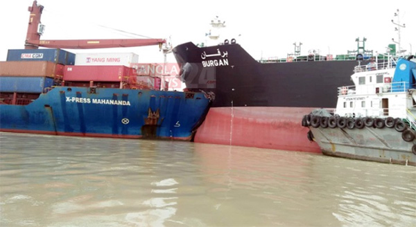 Oil tanker collided with the container ship in the river Karnaphuli yesterday morning .