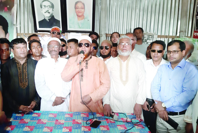 BHALUKA (Mymensingh):  Md Kazim Uddin Ahmed MP speaking at a reception at Awami League office in Bhaluka on Friday. Among others, Alhaj Abul Kalam Azad, Chairman, Upazila Parishad  and  Adv Shawkat Ali, Vice- President,  Upazila Awami League were present in the programme.
