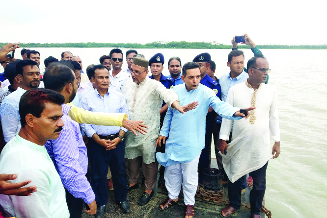 BETAGI (Barguna): State Minister for Water Resources Col (Retd)Jahid Faruk Shamim MP visiting affected City Protection Dam by  Bishkhali River erosion at  Betagi Upazila on Saturday. Among others, Shawkat Hasanur Rahman Rimon MP was also present.
