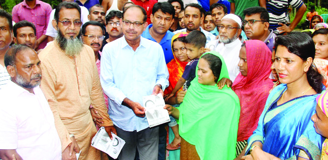 BOGURA: BNP and 20-party Alliance nominated candidate of by-election of  Bogura-6 seat Golum Mohammad Siraj distributing leaflets at Nunagola Union on Saturday.