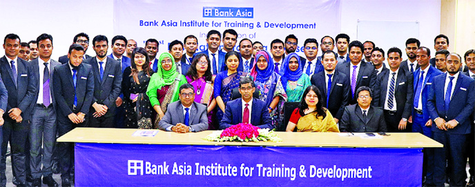 Md Arfan Ali, President and Managing Director of Bank Asia Ltd, inaugurates the 51st Foundation Training Course (FTC) for different ranks officers of the Bank at its Institute for Training and Development at Lalmatia in the city on Sunday. Md Zia Arfin, Head of International Division, Krishna Saha, Lalmatia Branch Manager  and Sujit Kumer Sen, AVP, among others, were present on the occasion.