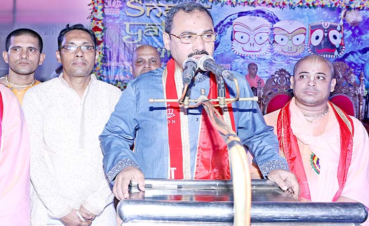 CCC Mayor A J M Nasir Uddin speaking at the inaugural programme  'Snan Jatra' programme  at DC Hill premises organised by Chattogram  Iscon on Sunday.