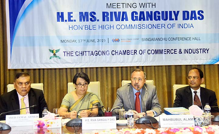 A view exchange meeting was held between leaders of Chattogram Chamber of Commerce and Industry  and Indian High Commissioner  in Bangladesh Riva Ganguly Das at Bangladesh Conference Hall in Chattogram on Monday.
