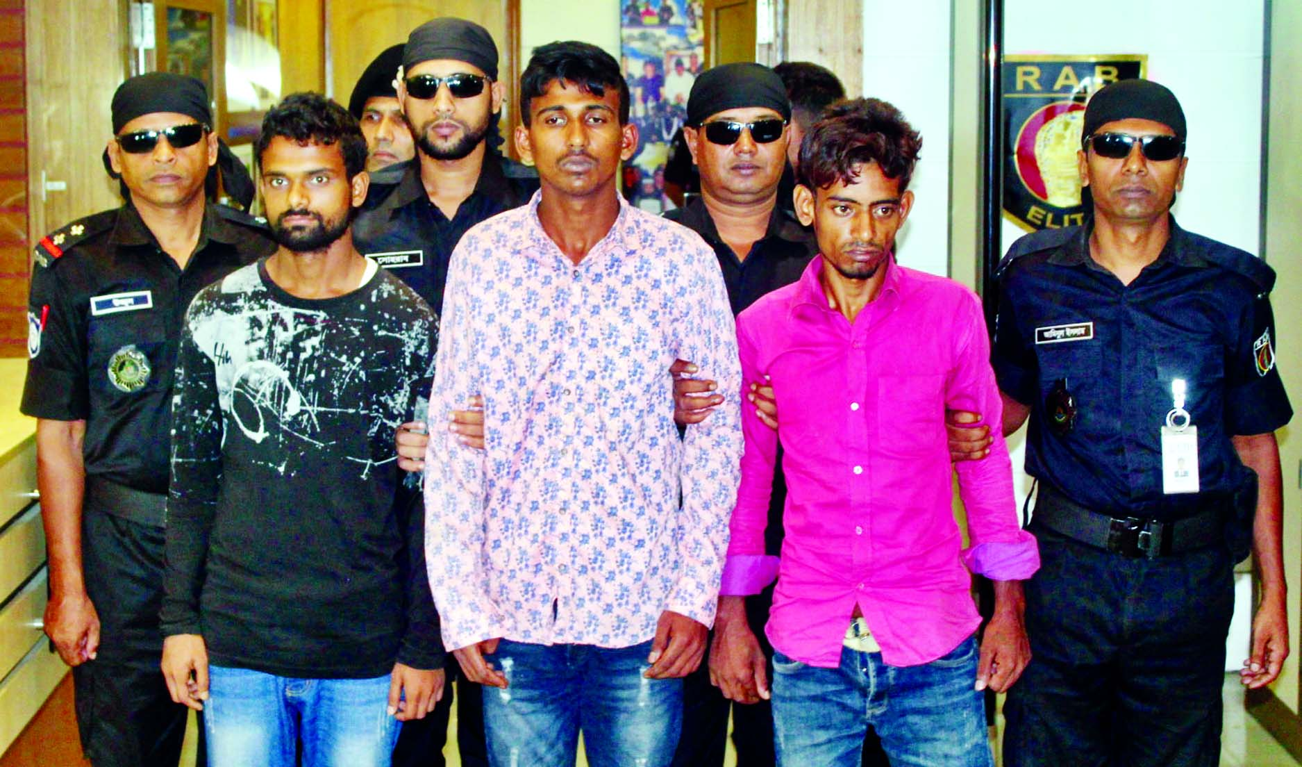 Three criminals were arrested by RAB-1 for allegedly killing of Shakib of city's Uttarkhan area recently. This photo was taken from RAB media centre on Tuesday.