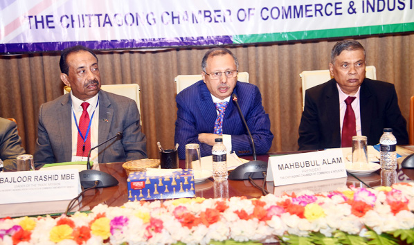 Mahbubul Alam, President, Chattogram Chamber of Commerce and Industry speaking at a view exchange meeting with  delegates of  UKBCCI  at Bnagladesh Conference Hall in Port City yesterday.