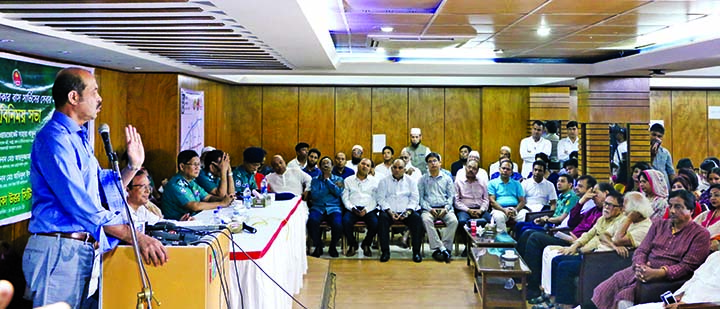 Mayor of Dhaka North City Corporation Atiqul Islam speaking at an opinion sharing meeting on 'Quality Development of BRTC Circular Bus Service in Uttara' at Bangladesh Club in the city's Uttara on Wednesday.