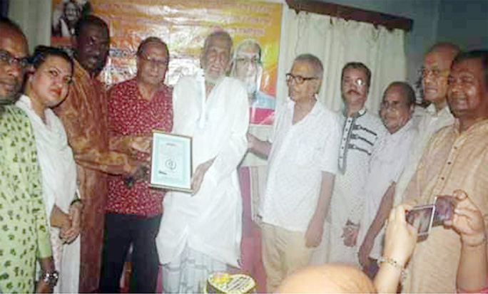 Chowdhury Hasan Mahmud Hasni, Panel Mayor, CCC greeting renowned politician M Abu Sahel on the occasion of his 79th birthday recently.
