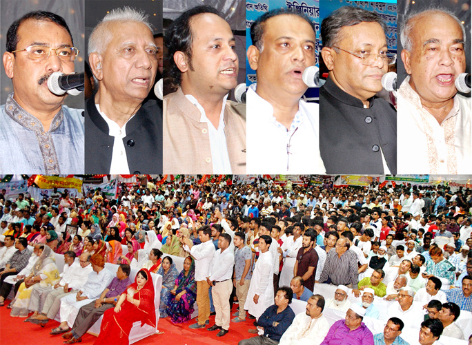 CCC Mayor A J M Nasir Uddin, Mahtab Uddin, Deputy Minister for Education Barrister Mohibul Hasan Chowdhury Nowfel MP,  Saifuddin Chowdhury Javed MP,   Dr Hasan Mahmud MP and Mosharraf Hossain MP speaking at a discussion meeting on the occasion of the 70th founding anniversary of Bangladesh Awami League on Sunday.