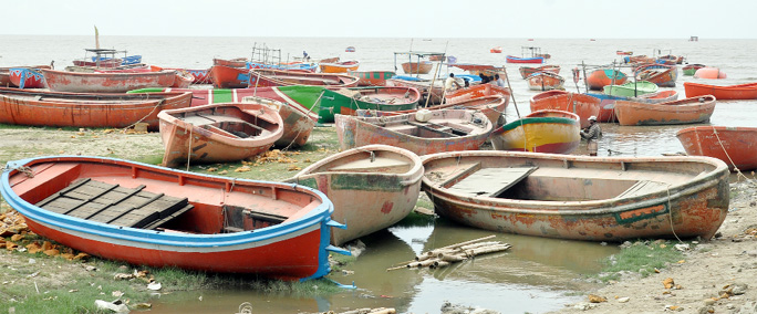 Boats remain idle at Rashmoni Ghat in Kattlai  as fishing in  the sea has been banned. This snap was taken yesterday.