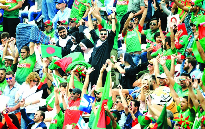Bangladesh fans show their support during the ICC World Cup Cricket group stage match against Afghanistan at the Hampshire Bowl, Southampton, England on Monday.