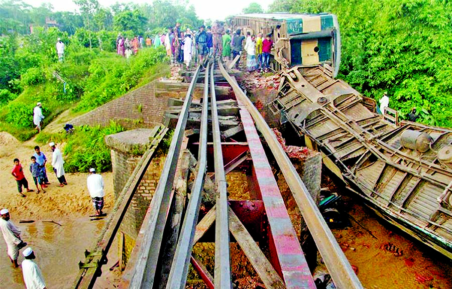 Dhaka bound Sylhet train veers off track as culvert collapses
