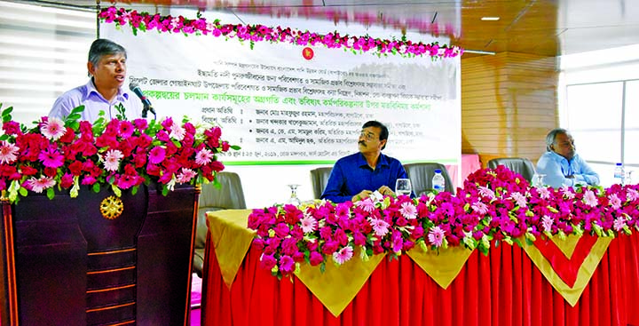Director General of Bangladesh Water Development Board Mahfuzur Rahman speaking at a workshop on 'Flood Control and Irrigation Management' at a hotel in the city on Tuesday.