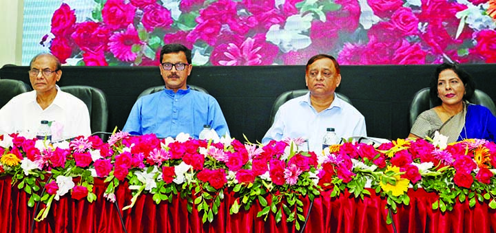 State  Minister for Shipping Khalid Mahmud Chowdhury, among others, at a workshop on 'Role to Resist Environment and River Water Pollution' organised by National River Protection Commission in CIRDAP auditorium in the city on Wednesday.