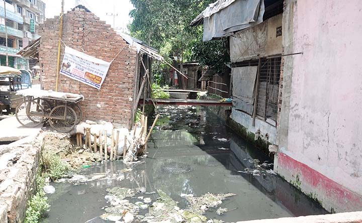 Influentials illegally making constructions over by grabbing Abdul Ali Hat  Canal  at North Pahartoli causing water-logging in the area. This snap was taken yesterday.