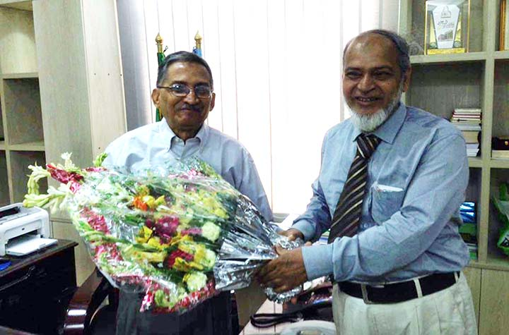 Prof  KM Golam Mohiuddin, VC,  International Islamic University Chittagong (IIUC) greeting the newly- appointed Chairman of University Grants Commission (UGC) Prof Dr Kazi Shahidullah at the latter's office in  Port City recently.