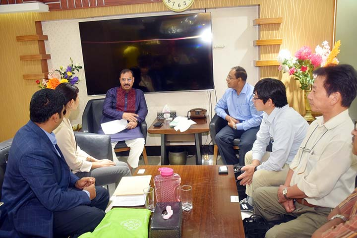 City Mayor AJM Nasiruddin attending a meeting with  Japan International Co- Operation Agency (JICA) expert team on Tigerpass City Corporation  Temporary Office  yesterday.