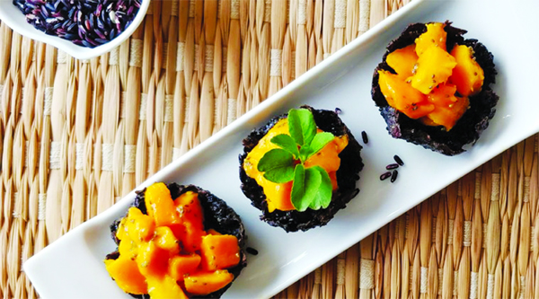 Go healthy with this Black Rice Tarts  and Mango-Chia Seed Topping recipe