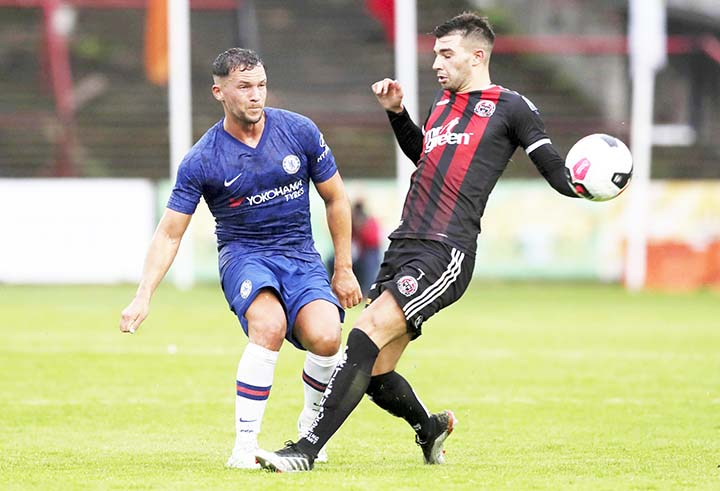 Chelsea's Danny Drinkwater (left) in action during a pre-season friendly match against Bohenians, at Dalymount Park in Dublin, Ireland on Wednesday.  Chelsea manager Frank Lampard makes his debut as manager in the first-team dugout Wednesday during a friendly soccer match against Bohemians.