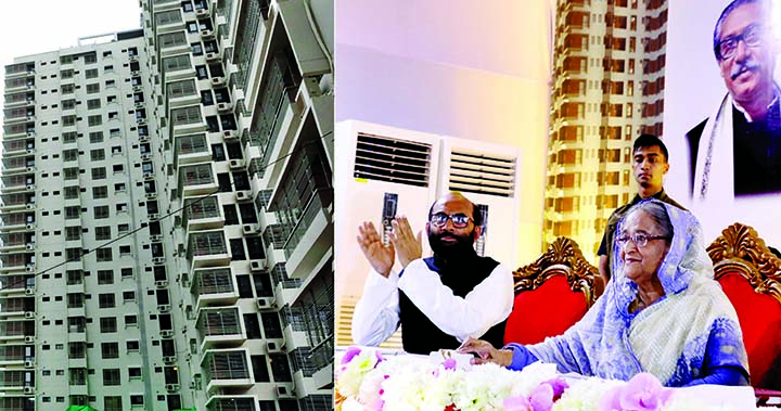 Prime Minister Sheikh Hasina inaugurating seven housing development projects including four completed by Public Works Department and three other by National Housing Authority and Rajdhani Unnayan Kartripakkha (RAJUK) under the Housing and Public Works Ministry in the city's Eskaton Garden area on Monday.
