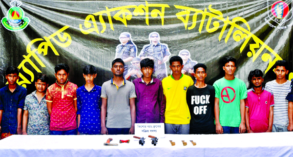 Eleven members of 'New Line Star' criminal gang were arrested by RAB-1 from city's Turag area on Monday.