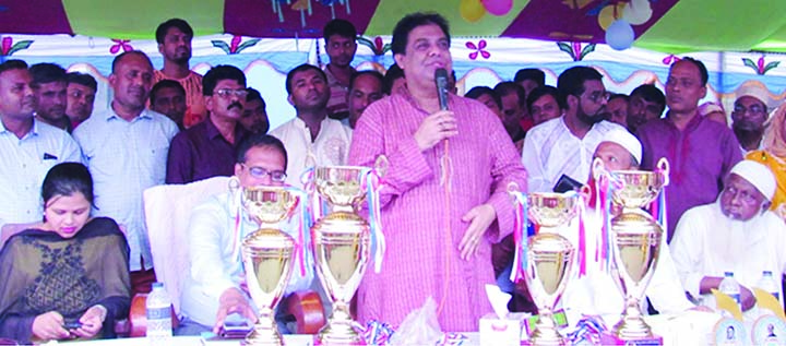GAZIPUR:  Muhammad Iqbal Hossain Sobuj MP speaking at  the final match of Bangabandhu and Bangamata Sheikh Fazilatunnesa Mujib Gold Cup  of primary school level  as Chief Guest at Sreepur Upazila on Sunday.