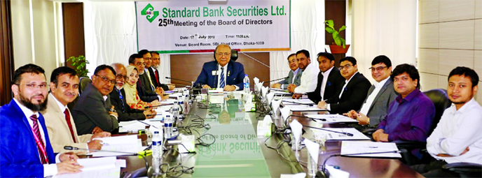 Kazi Akram Uddin Ahmed, Chairman of Standard Bank Ltd, presiding over the 25th board of directors meeting of the Standard Bank Securities Limited at its corporate office in the city on Wednesday. Directors SAM Hossain, Md Zahedul Hoque, Mamun-Ur-Rashid, Tanveer Mostafa Chowdhury, Bedowra Ahmed Salam, AKM Abdul Alim, Azad Ahmed, Jhahedul Alam, Mohammed Arif Chowdhury, Kazi Sanaul Hoq and Najmul Huq Chaudhury, among others, were present.