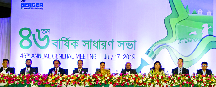 Gerald K Adams, Chairman of Berger Paints Bangladesh Ltd, presiding over the 46th AGM of the company at Golf Garden in the city on Wednesday. Managing Director Rupali Chowdhury, Directors Anil Bhalla, K R Das, Jean-Claude Loutreuil, Anis A Khan, Masud Khan, Rishma Kaur, Kanwardip Singh Dhingra and Abdul Khalek, among others, were present. 250 percent Cash Dividend was declared for 2018-2019 in the meeting.