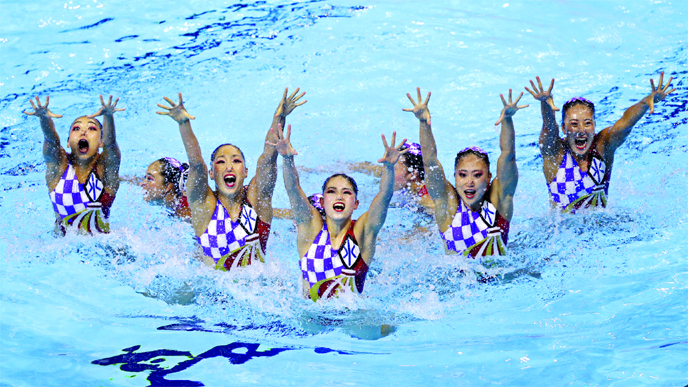 Japan perform their routine in the artistic swimming team free preliminary event at the World Swimming Championships in Gwangju, South Korea on Wednesday.