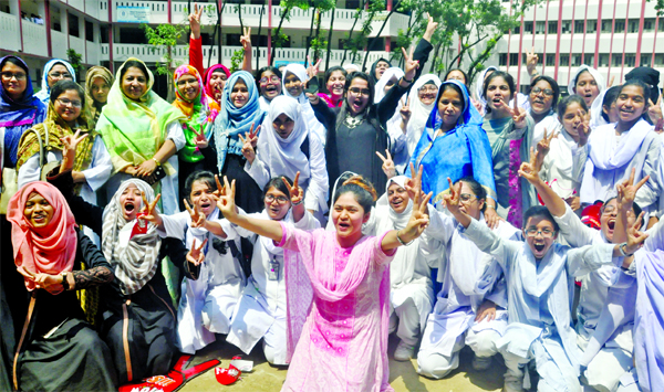 Students of the city`s Motijheel Ideal School and College exulting over the brilliant results of the HSC examination. The snap was taken from the premises of the institution on Wednesday.