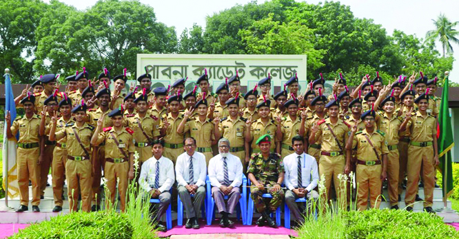 PABNA:  Treachers, students and Principal of Paban Cadet College celebrating theit brilliant HSC result on Wednesday.