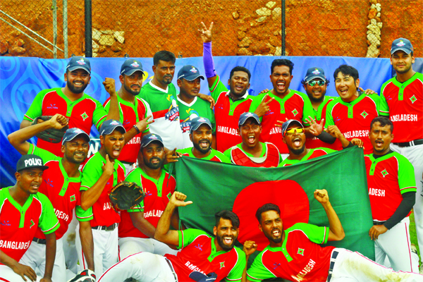 Members of Bangladesh Baseball team celebrating after defeating Nepal Baseball team by 11-4 points in their match of the 14th West Asia Baseball Cup at Sri Lanka-Japan Friendship Baseball Stadium in Sri Lanka on Friday. Bangladesh finished fifth in the baseball meet.